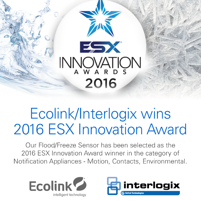 Ecolink/Interlogix wins the the 2016 ESX Innovation Award.
